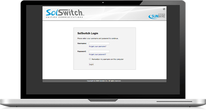 Sunwire On-Premise Business Phone Systems - SolSwitch Administrative Web Portal